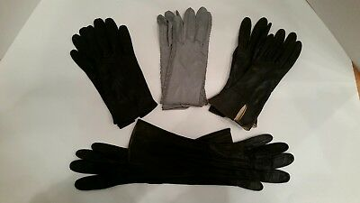Lot of 4 Vintage Women's LEATHER GLOVES Sz Small Various Lengths Blk & Grey