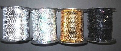 Flat Sequin NonStretch Single Strand Slung Sequin Various Colors Spool Raw Goods