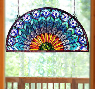 Stained Glass Peacock Window Panel Half Round Circle Half Round 35in