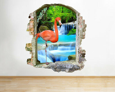 M895 Flamingo Waterfall Bird Bath Smashed Wall Decal 3D Art Stickers Vinyl Room