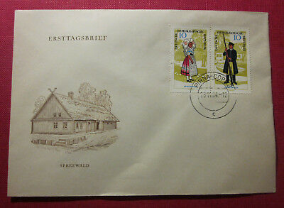 Briefmarken Ersttag Brief DDR Mecklenburg 1966 Trachten Stempel Pirna - Copitz