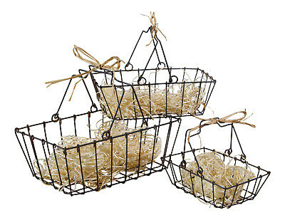 Vintage Style Small Metal Wire Nesting Market Baskets Set of 3 Kitchen Decor
