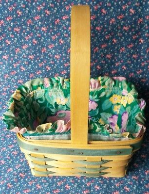 1993 LONGABERGER SMALL EASTER  BASKET w/Plastic Liner Fabric & Card~SPRING~