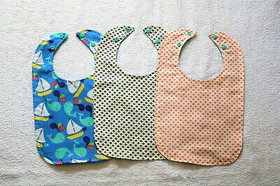 New Lot of 3 Pieces Different Colors Of Handmade Toddler's Waterproof Bibs