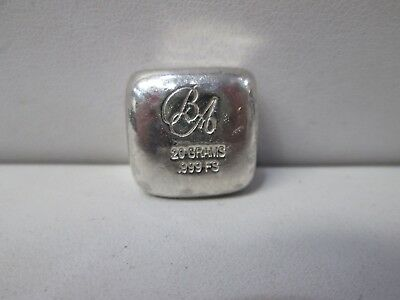 BA .999 Silver 20 Gram Poured Bar