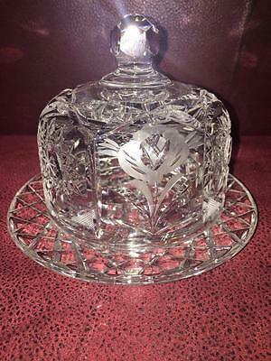 Vintage  Cut Crystal Mini Domed Cake/Muffin/Butter Dish