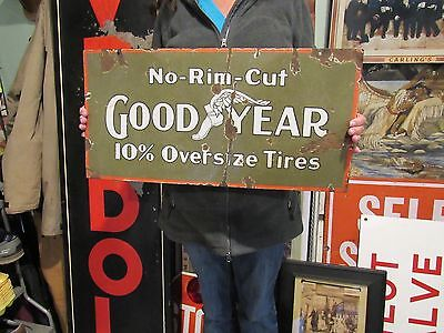 ORIGINAL c1910 GOOD YEAR NO RIM CUT TIRES DOUBLE SIDED PORCELAIN SIGN WING FOOT