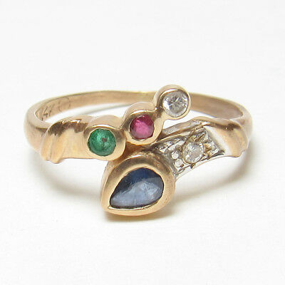 Estate 14K Yellow Gold Natural Sapphire, Ruby, Emerald, Diamond Ring 0.25 Cts