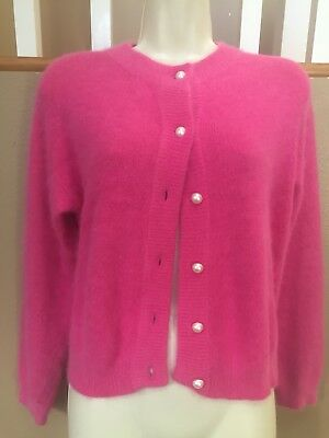 Vtg Nordstrom 70% ANGORA Hot Pink Pearl button Cardigan Sweater M ~ 80s