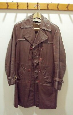 Vintage 70's Men's Leather Coat . Size 38 . Priority Mail