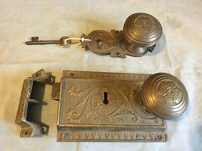 ANTIQUE Victorian ornate brass bronze door vertical rim lock set WITH KEY