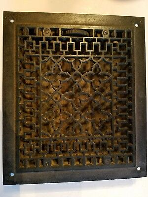 "Original Antique Cast Iron Floor Register, Heating Grate, 9 3/4"" by 14"" Inside"