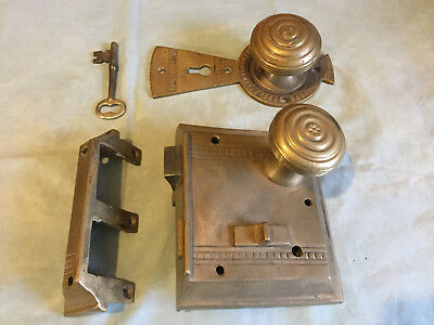 ANTIQUE Victorian ornate brass bronze door vertical rim lock set WITH KEY lot A