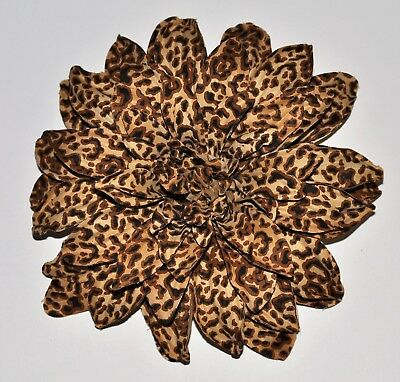 "LARGE 7"" Brown Tan Snow Leopard Cheetah Print Dahlia Silk Flower BROOCH PIN"
