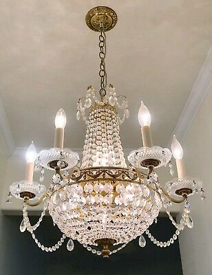 Vintage French Basket 12 Light  Brass and CRYSTAL Chandelier Beautiful ****