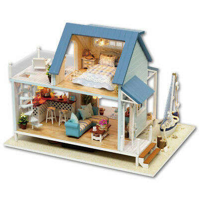 Vintage DIY Kit Miniature Doll House Wooden Dollhouse Model Furniture w/LED Toy