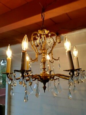 Antique Vintage Spanish Ornate 6 arm Brass Chandelier Hanging Light Fixture