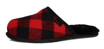 UGG Scuff Buffalo Plaid Woolrich Slip On Slippers Men Black Red Sz 10 D 4125