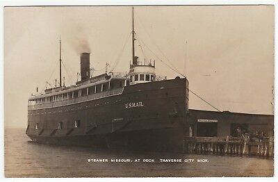 RARE Real Photo - Steamer Missouri - US Mail 1910 Traverse City MI Michigan RPPC