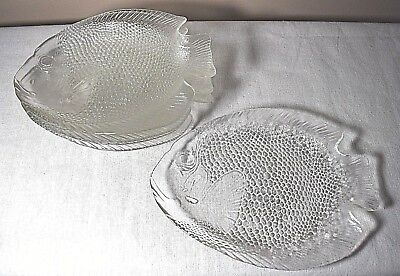 6 Vintage Arcoroc France Clear Glass Poisson Fish Dinner Plates 10 x 8.5 inches