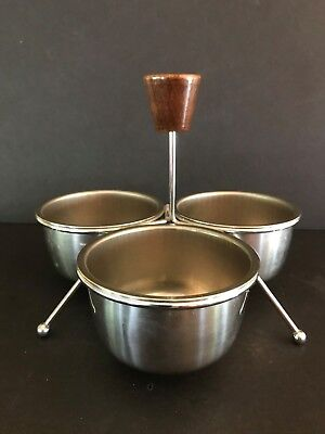 Mid-Century Modern Condiment Server Caddy Chrome & Wood
