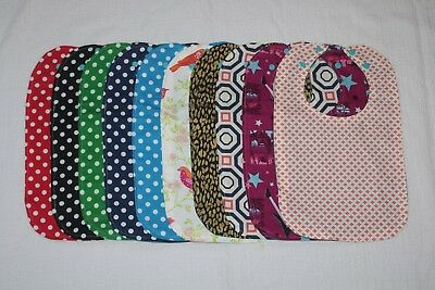 New Lot of 10 Pieces Different Colors Of Handmade Toddler's Waterproof Bibs