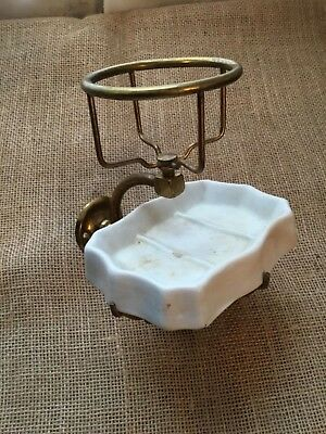 Vintage Brass  Wall Mounted Cup Holder With Ironstone Soap Holder