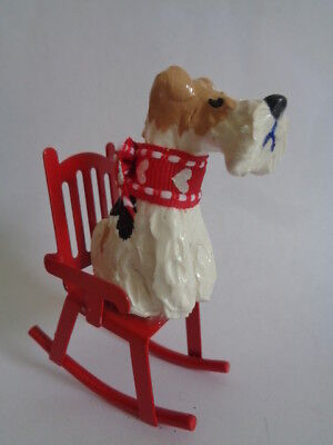 ****wire Fox Terrier Rocking On A Cute Red Metal Rocking Chair***art Figurine
