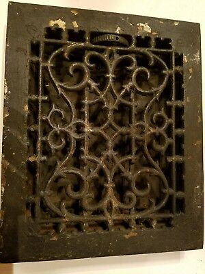 "Original Antique Cast Iron Floor Register, Heating Grate, 8"" by 10"" Inside"