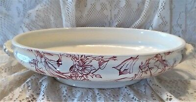 """BOWL RED TRANSFERWARE ANTIQUE SERVING DISH Large 12 1/2"""" Oval 1900 OLD PATTERN"""
