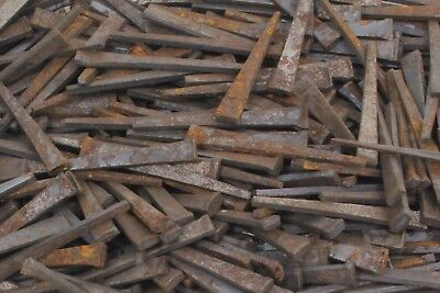 "Vintage Antique Square Cut Steel Nails - 2"" Long - Lot of 42 Nails - 1/8"" Thick"