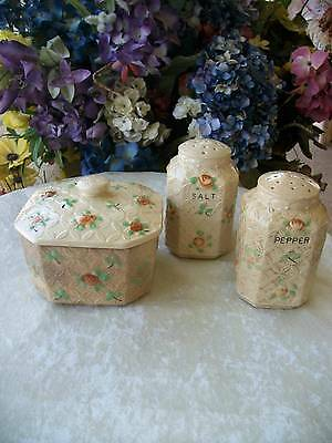 20's 30's japan SALT PEPPER SHAKERS & grease box stove top RUSTIC COUNTRY DECOR