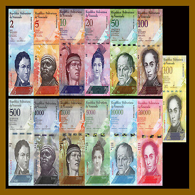 Venezuela 2 - 100000 (100,000) Bolivares (13 Pieces Pcs Full Set), 2007-2017 Unc