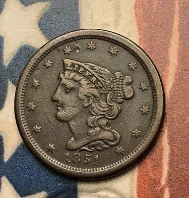 1851 Braided Hair Half Cent Vintage US Copper Coin #HB6 WOW Very Sharp and RARE