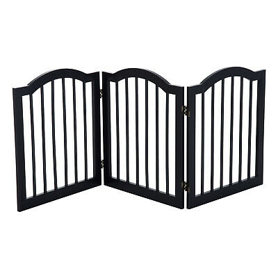 PawHut Dog Gate 3 Wood Panel Freestanding Pet Fence Folding Safety Barrier Black