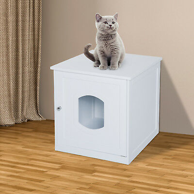 PawHut Pet Cat House Litter Washroom Box Enclosure Indoor Furniture Wooden White