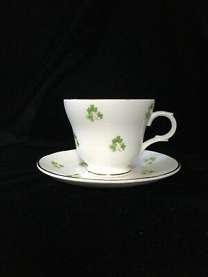 Crown Trent Teacup (England) - Shramrock Design on White with Gold Trim