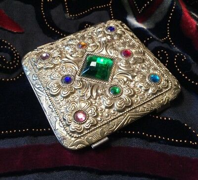 ART DECO vintage Collectable Czech crystal Repousse Signed brass Powder Compact