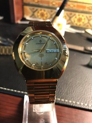 Candino Saudi Arabia Swiss Made Day & Date Automatic Diamond Dial Vintage Watch