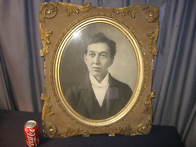 """26""""x22 ANTIQUE VICTORIAN PHOTO ORNATE WOOD GESSO OVAL PICTURE FRAME 1800s"""