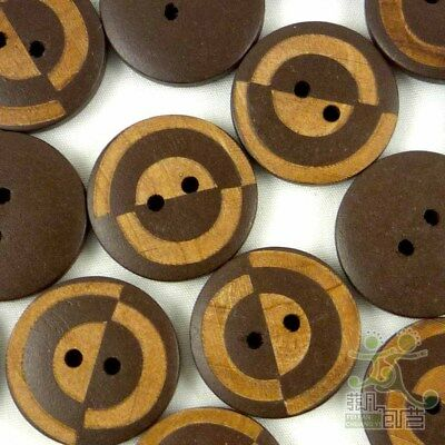 20/100pcs Brown Wood Round Buttons 23MM 2 Holes Sewing Craft Cards Embellishment