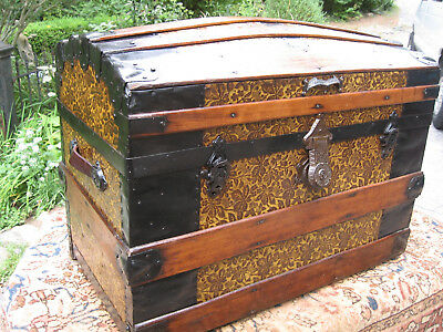 Restored 1800s Antique Victorian Dome Slat Top Steamer Trunk Stage Coach Chest