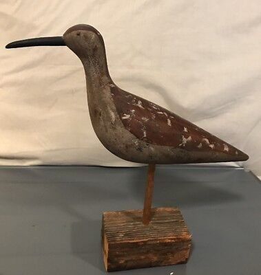 Vintage Hand carved Wooden Shorebird on Antique Wood Block (316)