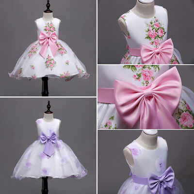 AU Stock Princess Kid Girl Clothes Baby Bowknot Flower Tulle Party Dresses 3-12Y
