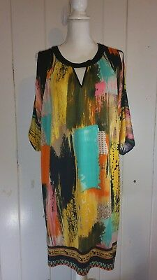 Beige By Eci Cold Shoulder Multi Colored Tunic Dress Large