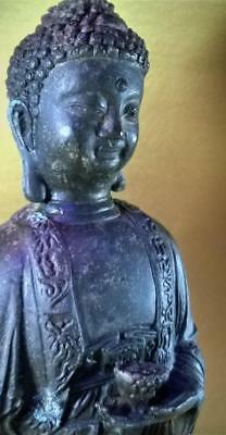 Antique Bronze Statue of Varada Mudra Buddha from late 19th century 15.5 inches