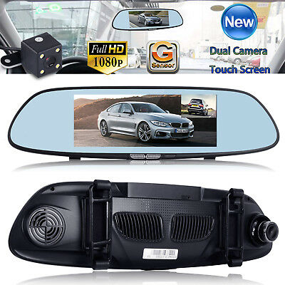"Dual Lens HD 1080P 7"" Car Rearview Mirror DVR Camera Video Recorder Dash Cam New"