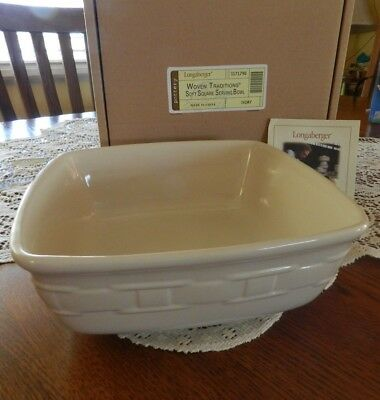 Longaberger Woven Traditions Large Soft Square Serving Bowl - Ivory - NIB