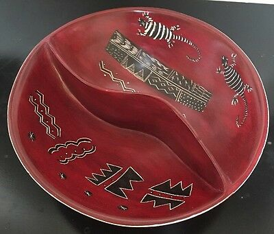 KENYA RED Hand Carved Reptile Lizard Soap Stone DIVIDED BOWL TACTILE African Art