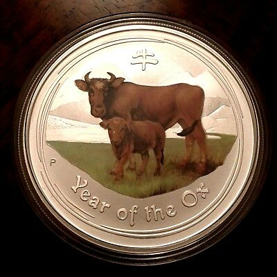 2009 Australia One Ounce SILVER Series II Lunar Year of the Ox COLORIZED COIN